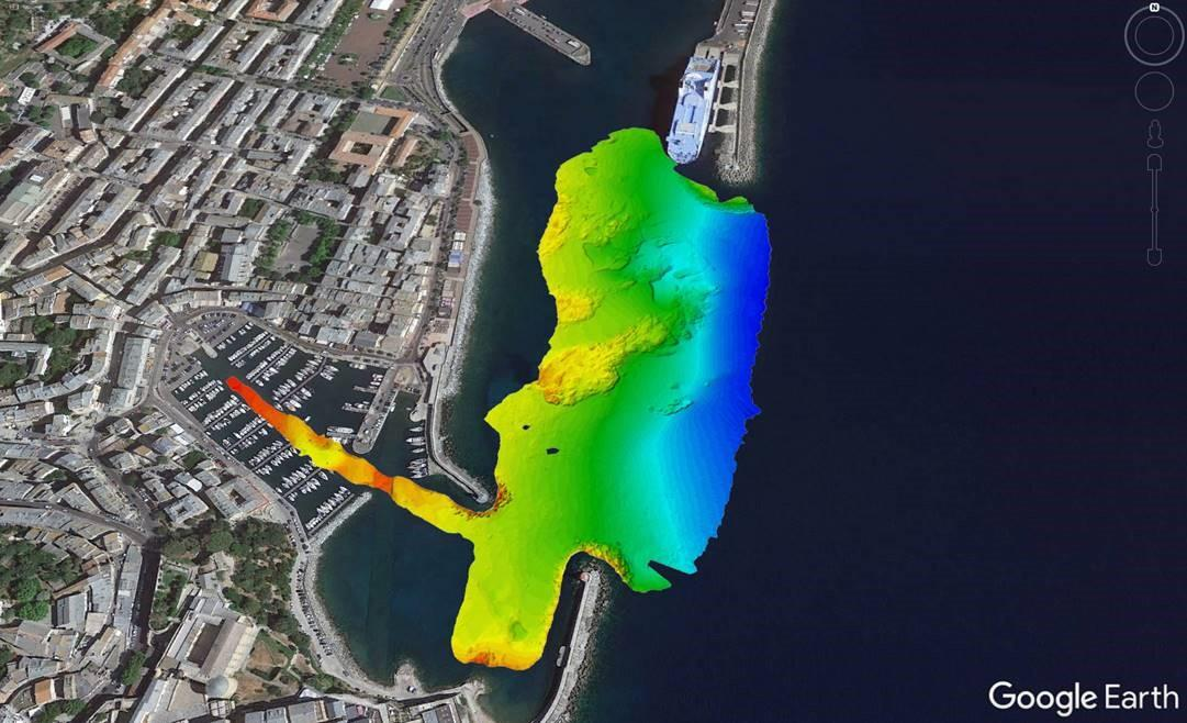 Bathymetric chart of Bastia harbour by MacArtney France during installation and testing