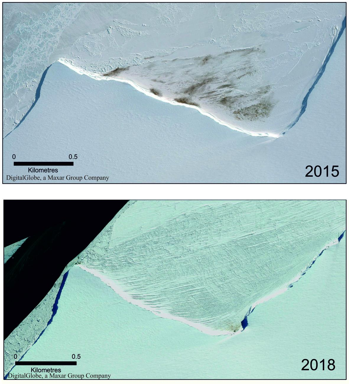 EM2 SMALL Satellite imagery comparison of Halley Bay colony in 2015 and 2018
